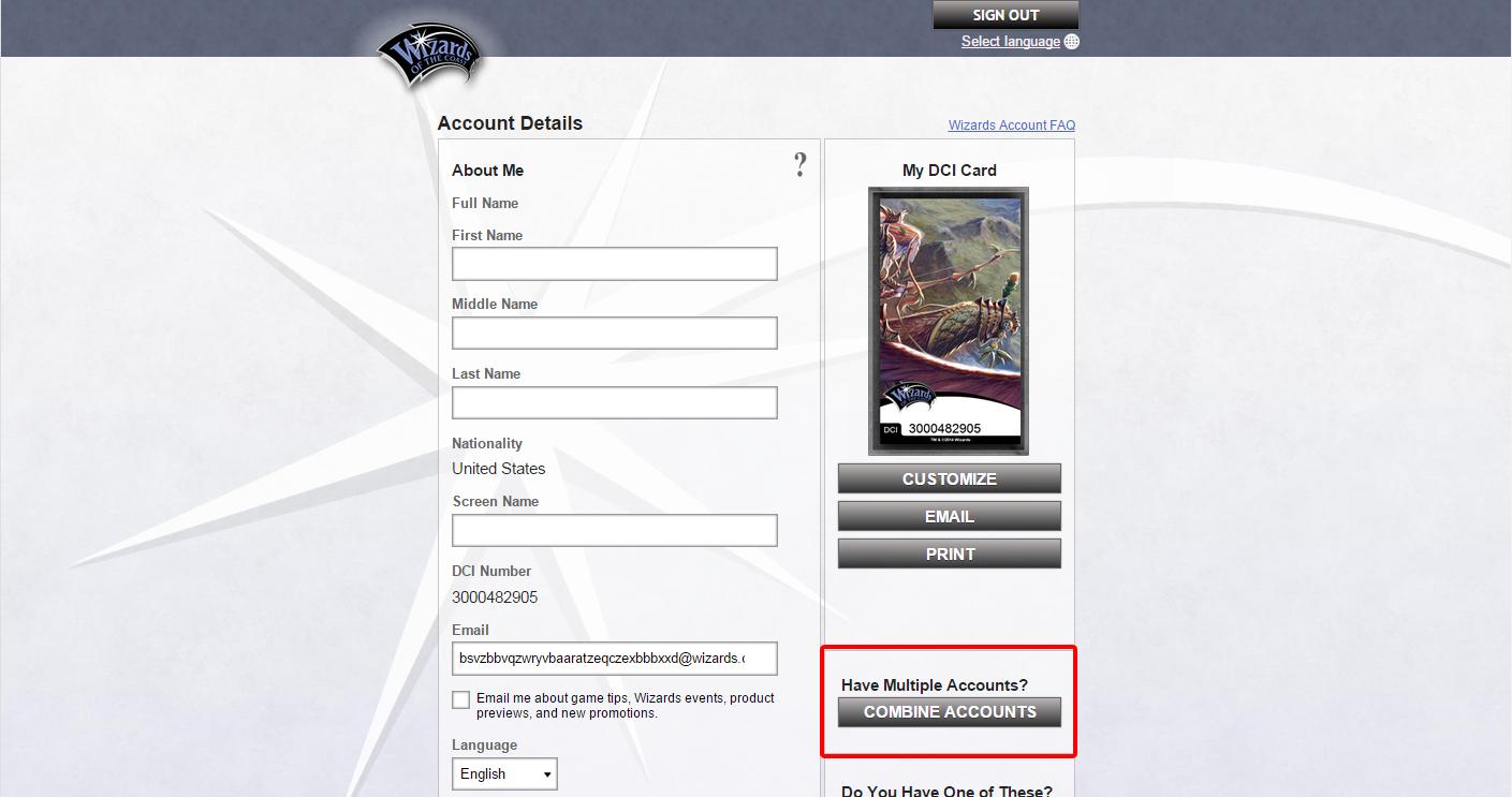 Account Details Combine Screen