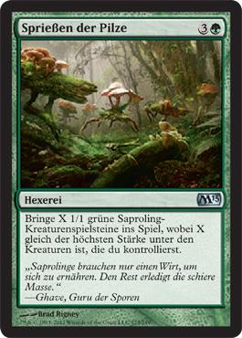 Sprießen der Pilze