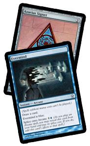 Azorius Signet: Silver frame. Evermind: Blue frame.