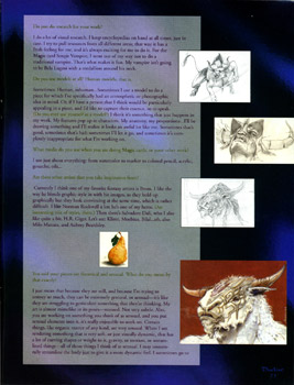 A page of the interview, featuring early sketches for the Hurloon Minotaur