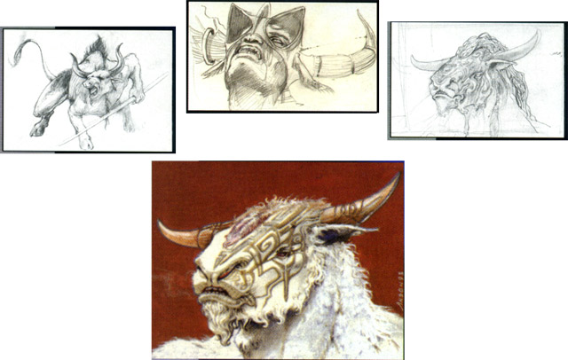 Sketches of the Hurloon Minotaur and the final art
