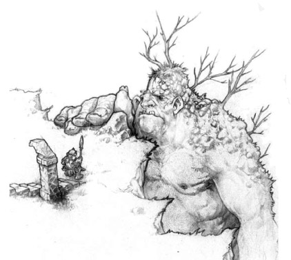 Shadowmoor Giant at a cliff