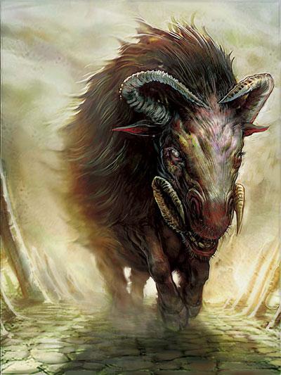 Lorwyn Beast token art by John Donahue