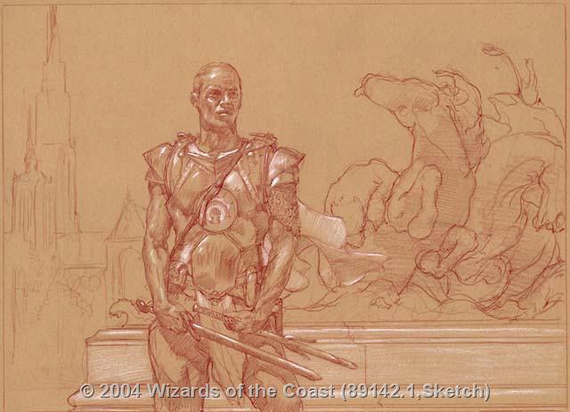 Agrus Kos, Wojek Veteran sketch by Donato Giancola