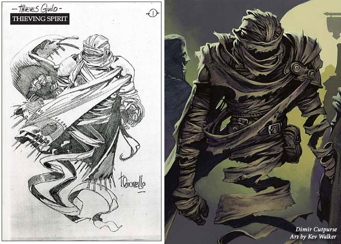 Ravnica style guide: Thieving spirit sketch and Dimir Cutpurse