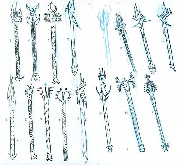 Rod of Ruin concept sketches 1
