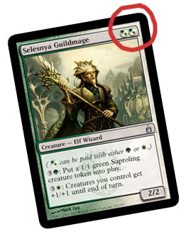 Selesnya Guildmage and its hybrid mana symbols