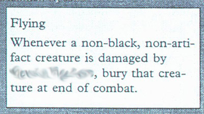 Rules text of a mystery Mirage black card