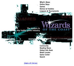 Wizards.com home page circa 1998
