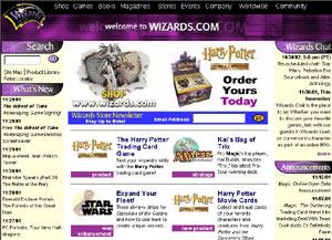 Wizards.com home page circa 2001