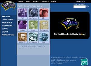 Wizards.com home page, 2003-Present