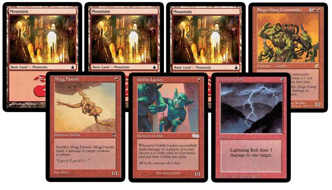 Mountain, Mountain, Mountain, Siege-Gang Commander, Mogg Fanatic, Goblin Lackey, Lightning Bolt