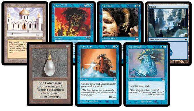 Library of Alexandria, Force of Will, Ophidian, Island, Mox Pearl, Mana Leak, Counterspell
