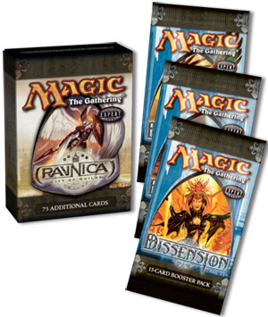 Ravnica tournament pack and three Dissension boosters