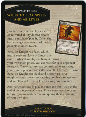 Tenth Edition Tips and Tricks Card