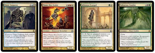 Dimir Cutpurse, Flame-Kin Zealot, Selesnya Evangel, and Vulturous Zombie
