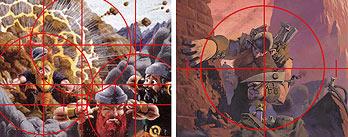 Two illustrations of Dwarven Demolition Team