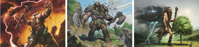 Skarrgan Skybreaker, Stonehewer Giant, and Thundercloud Shaman