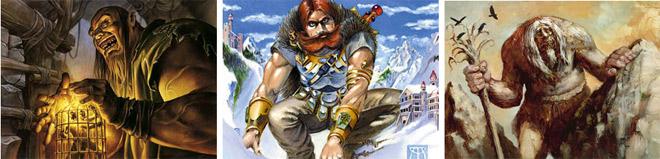 Hearthcage Giant, Mountain Titan, and Wandering Graybeard