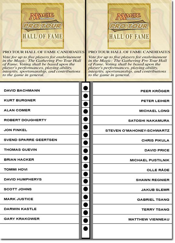 Magic Pro Tour Hall of Fame 2005 Ballot