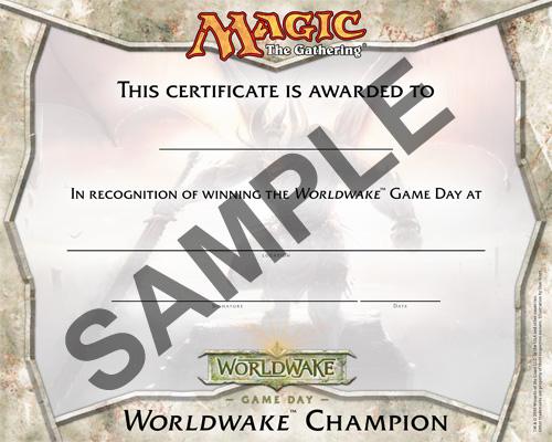 Worldwake Game Day Winners Certificate