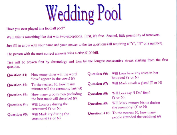 Wedding Pool