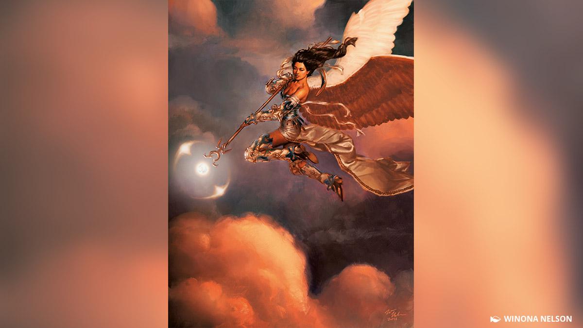 天使ブルーナはスレイベンを本拠地とする天使の一団、空翔る雪花石の長です。彼女らはイニストラード中の都市と聖所にて、大天使アヴァシンの防護魔法を維持しています。
