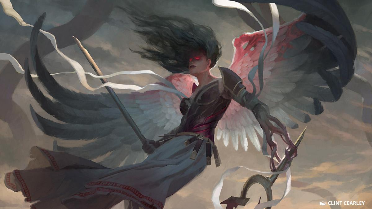 大天使ギセラと共に、ブルーナは「浄化の天使」として知られる雪花石の天使兵を率いています。炎の剣を振るい、鎧に全身を包み、この天使たちはイニストラードのあらゆる定命へと天罰をもたらすようになっています。なぜ彼女らが過酷な審判を下すのか、そして彼女らが次に何処を攻撃するのか、それは誰にもわかりません。