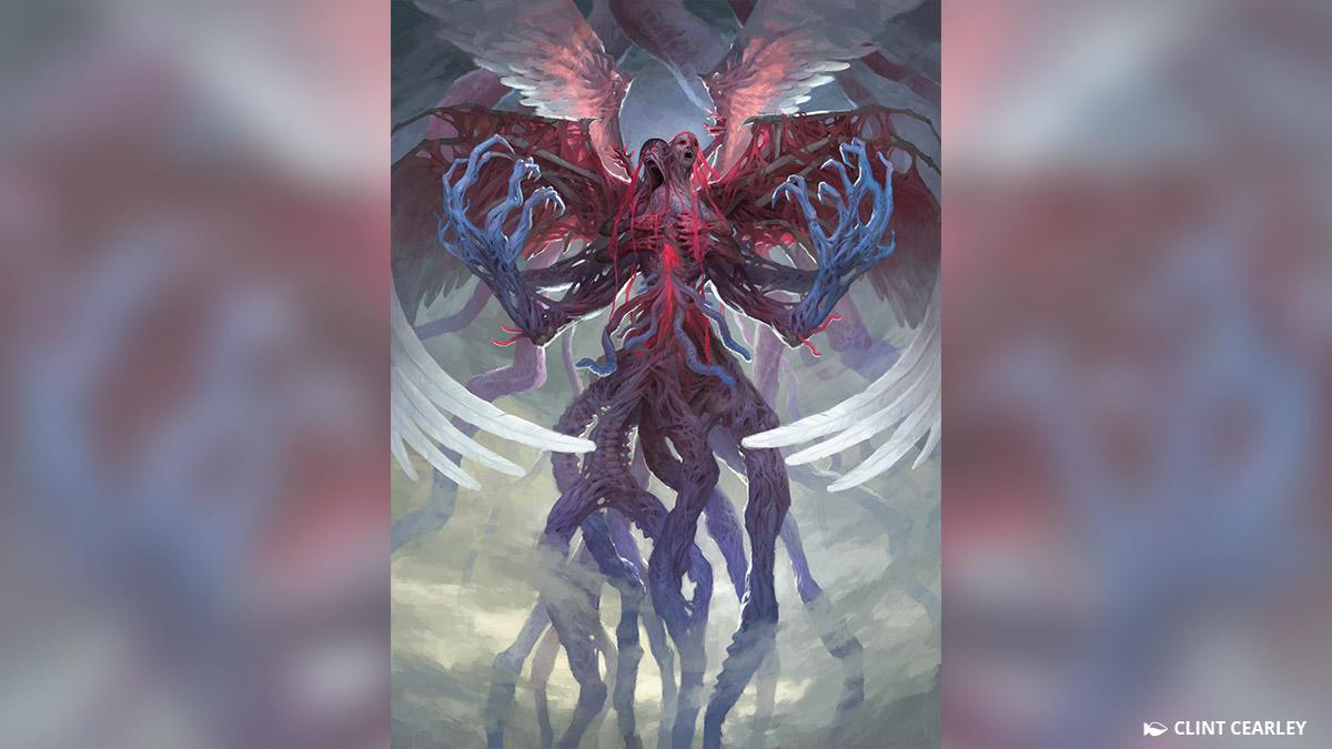 ギセラとブルーナ、狂気のアヴァシンと同じ道に進んだ二人の大天使は一つに融合し、二つの頭に四枚の翼、そしてエムラクールそのものの触手を思わせるもつれた肢の塊から成る巨大なエルドラージの怪物と化しました。一つになった彼女らは、「悪夢の声、ブリセラ」として知られています。
